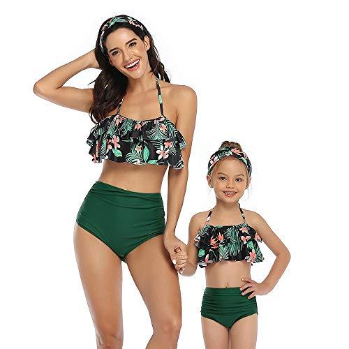 GGXX Bikini Traje de baño para Mujer Top con Volantes y Volantes con Cintura Alta Traje de baño de Dos Piezas Traje de baño para Madre e Hija Bikini para niños Adultos
