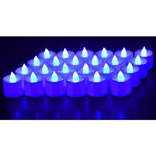 Lot de 24 bougies chauffe-plats à LED Bougies électriques étanches pour la piscine Éclairage d'ambiance sans flamme pour Noël/Nouvel An/anniversaire/Saint-Valentin/mariage bleu