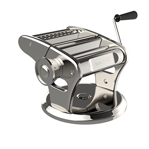 bonVIVO Pasta Mia, Stainless Steel Pasta Maker Machine With Chrome Finish, Noodle Maker With Innovative Suction Base, Manual Pasta Machine For The Pleasure Of Homemade Italian-Style Pasta