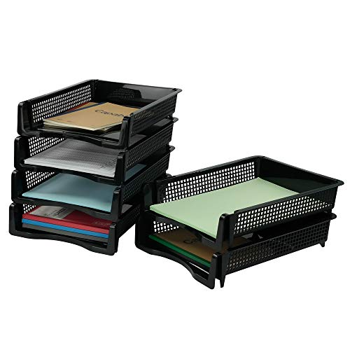 Hokky A4 Bandejas de Plástico para Documentos 6 Estantes Apilables, Negro Organizador de Archivos