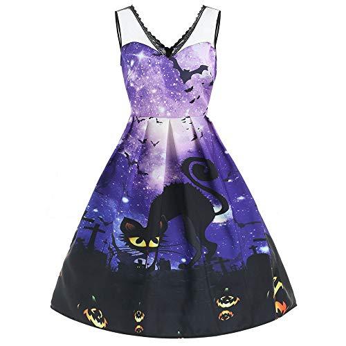 Vintage Kleid V Ausschnitt Damen Elegante Kleider mit Galaxy und Schwarze katze Knielang ärmellos Schulterfrei Swing Kleid Spitzenkleid fur Halloween Party Ball Abend Karneval Kostüm