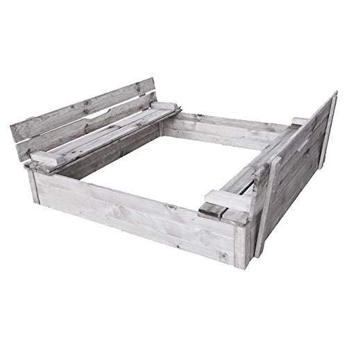 RM E-Commerce Sandkasten Holz mit Abdeckung Deckel und Sitzbank, Nadelholz grau imprägniert, 115x115 cm, 220 Liter