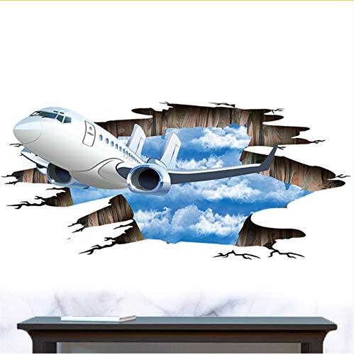 Wuyyii 3D Blue Sky Vliegtuig Witte Wolken Vliegen Op De Hemel Muurstickers Thuis Houten Vloertegels Slaapkamer Dak Muurstickers Waterdicht