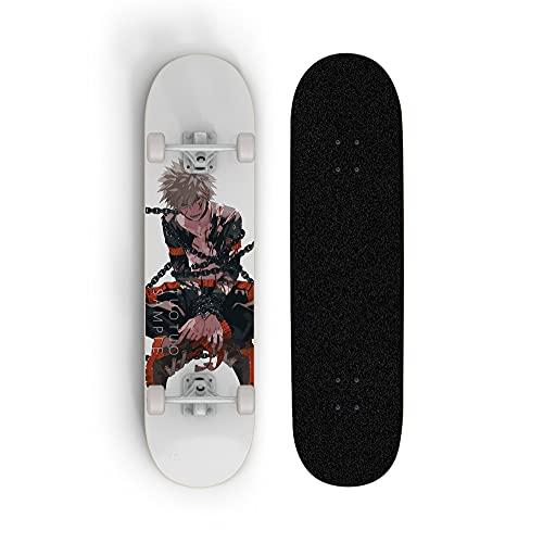 ZZYYII Monopatín Completo de 31 Pulgadas, My Hero Academia: Bakugou Katsuki, Anime Double Tilt Skateboard, Principiante/Scooters Profesionales de Cuatro Ruedas, patinetas Deportivas al Aire Libre