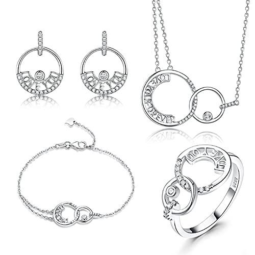 CHXISHOP Conjunto de joyería de las mujeres 925 plata esterlina con incrustaciones de circón doble anillo círculo plata personalidad colgante pendientes pulsera conjunto joyería plata - 7 #