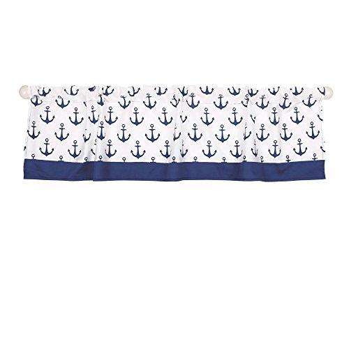 Navy Blue Nautical Print Window Valance by The Peanut Shell - 100% Cotton Sateen