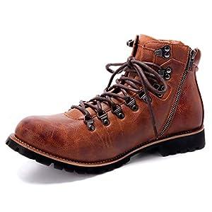 [Arkmiido] ブーツ メンズ エンジニア チャッカ ワーク 靴 防水 ヒール サイド ジップ ショート boots 革 バイク アウトドア マウンテン シューズ(28.5,ブラウン)
