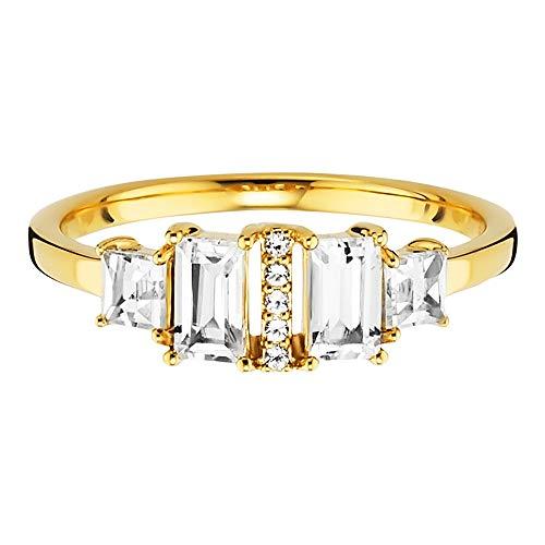 caï Ring Golden Retro aus vergoldetem 925 Sterling Silber mit Topasen-58