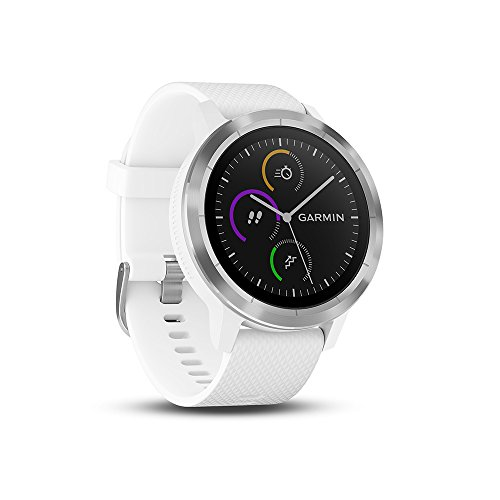 Garmin - Vivoactive 3 - Montre Connectée de Sport avec GPS et Cardio Poignet (Ecran : 1,6 Pouces) - Argent avec Bracelet Blanc (Reconditionné)