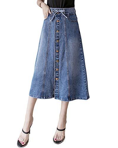 Damen Klassischer A-Linie Vintage Denim Rock Jeansrock Stretch Knielang Bleistiftrock Blau L
