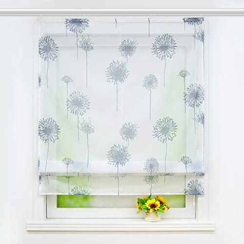 Joyswahl transparentes Raffrollo mit Pusteblume Druck Raffgardine mit Klettschiene »Aleyna« Schals Fenster Gardine BxH 100x140cm 1 Stück