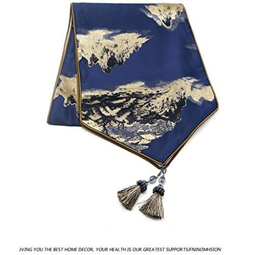 Landschap schilderij klassieke polyester restaurant/feest/vakantie decoratie (210 * 35cm) Drapeau de table-12.25