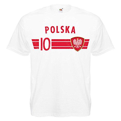 Fußball WM T-Shirt Fan Artikel Nummer 10 - Weltmeisterschaft 2018 - Länder Trikot Jersey Herren Damen Kinder Polen Polska Poland L