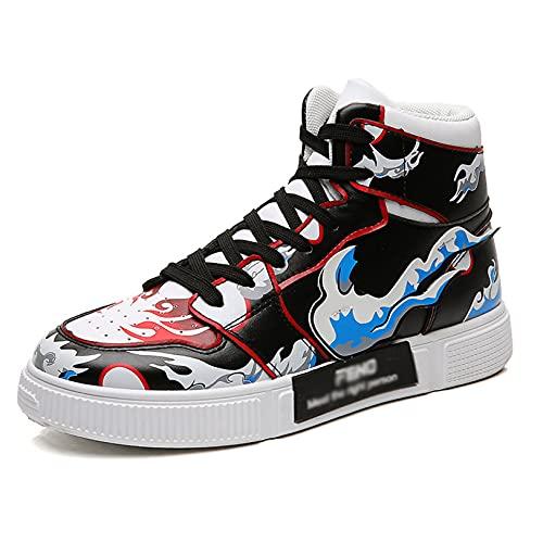 One Piece Zapatos de caña Alta para Hombre Monkey D. Luffy Zapatillas de Baloncesto Zapatillas de Baloncesto para Estudiantes Zapatos Deportivos cómodos para Caminar Senderismo Aptitud atlética