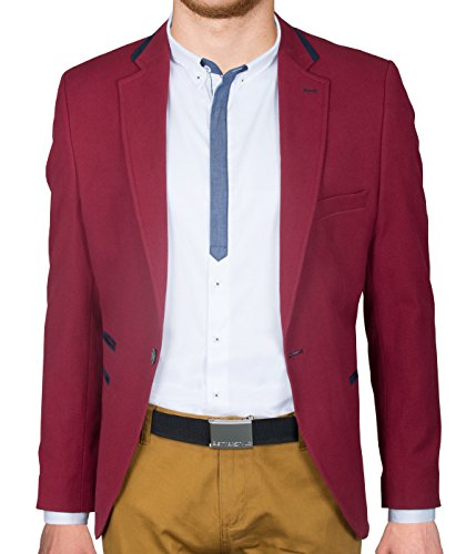 BetterStylz Heren Sakko Jacket Blazer Vrije tijd Business Slimfit FoxBZ Bordeaux & Rood (48-58)