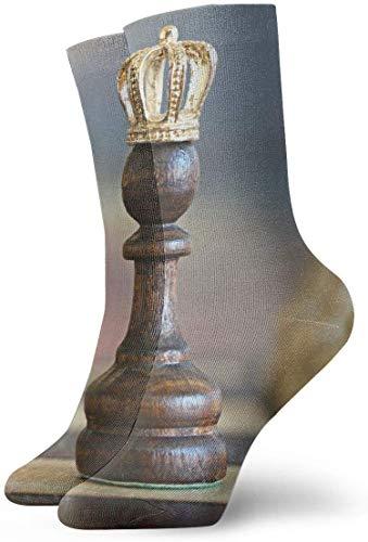 QUEMIN Calcetines de compresión antideslizantes de pieza de ajedrez de madera marrón Calcetines deportivos acogedores de 30 cm para hombres, mujeres y niños