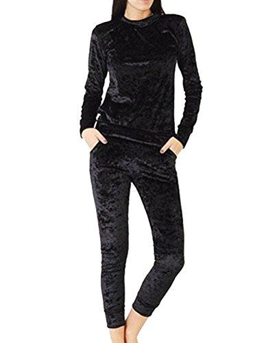 Mujeres Más Terciopelo del Basculador Loungewear 2 Piezas Jog Conjuntos Chándal Negro M