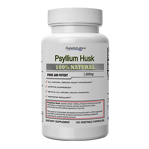 Superior Labs | Psyllium Husk | Maximum Strength 1000 mg | All-Natural Fiber Supplement, Supports Intestinal Health and Digestive Function, Promotes Regularity and Healthy Weight Management