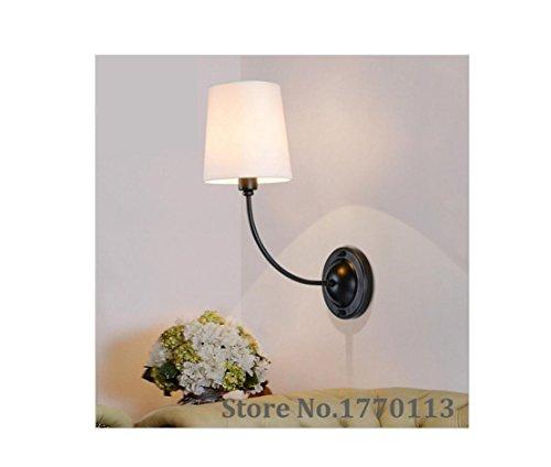 AllureFeng Style moderne tissu blanc abat jour lampe de mur avec du fer pour hôtel