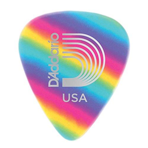 D'Addario. Púas para guitarra de celuloide en arcoiris, pack de 10, fino