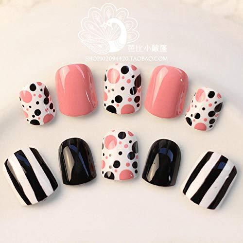 ZHEN Couleur populaire Rose et Noir Couleur unie Faux Ongles Set 24 Pack Taille courte Full Design Faux Ongles Manucure Outil Français Nail Sticker