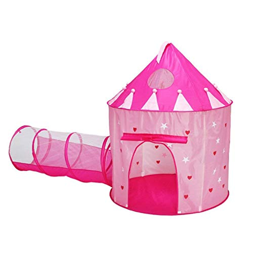 LAMPSJN Kids Play Tent, 2 in 1 Tenda Pop Up Piccoli Crawl Tunnel Playhouse Sfera Pit Tenda piegante, Regalo di Compleanno di Natale for i Bambini Uso Interno ed Esterno Teepee per Bambini tranquilli