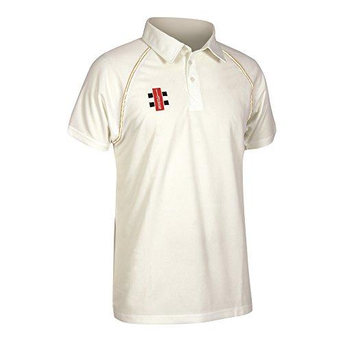 Gray Nicolls Matrix Cricket-Shirt, Senior (Weiß/Kastanienbraun), Größe S