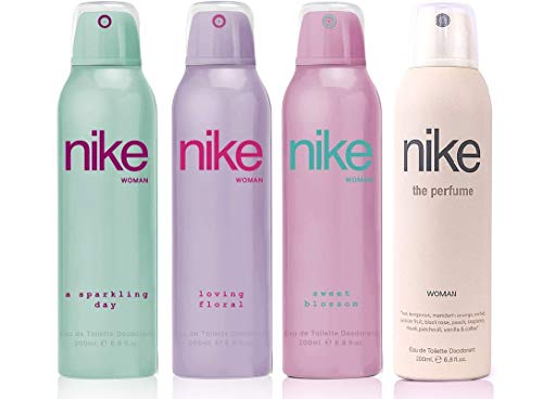 Nike Woman Deodorant (A Sparkling/Loving Floral/Sweet Blossom/The Perfume)- Pack Of 4 (200ml Each)
