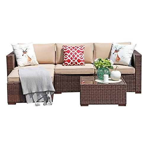 Super Patio Outdoor Patio Furniture Set, 5pc PE Wicker Rattan Sectional Furniture...