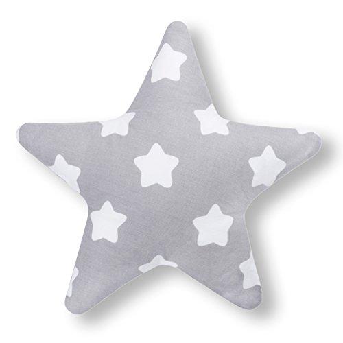Amilian® Kissen Stern Lebkuchen Grau Dekokissen Kuschelig Flauschig ca. 28 cm