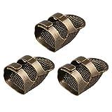 Jopto 3 dedales de metal de latón para costura, ajustables, de cobre, para manualidades, herramientas, accesorios, agujas, para costura, bordado, costura a mano, tamaño mediano
