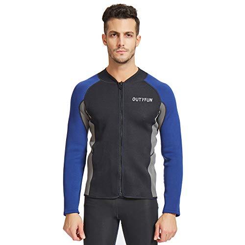OUTYFUN Wetsuit Jacket,2mm Neoprene Mens Women Wetsuits Top Long Sleeve Front Zip Wet Suit for Diving Snorkeling Surfing Kayaking Canoeing