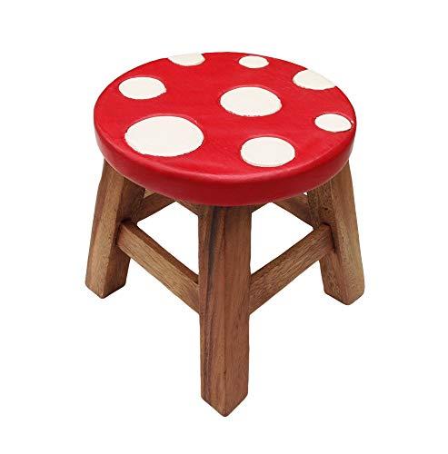 Collumino - Sgabello per bambini in legno massello, per bambini Fungo