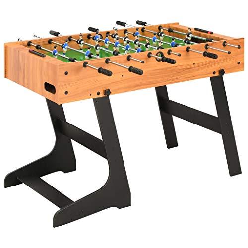 vidaXL Table de Football Pliante Table de Baby-Foot Chambre Salle de Jeux Robuste Durable Maison Intérieur Enfants Adulte 121x61x80 cm Marron Clair