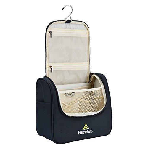 Travel Hanging Toiletry Bag by Hikenture | Cosmetics, Makeup and Toiletries Organizer | Compact Bathroom Storage | TSA Friendly | Home, Gym, Airplane, Hotel, Car Use(Black)