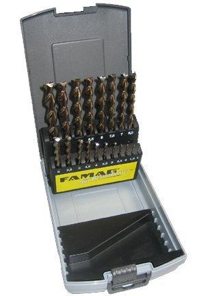 FAMAG 1594.819, Legno set punta elicoidale HSS-G, 19 pezzi