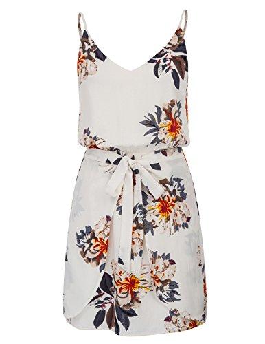 GRACE KARIN Women Floral Print Dress Spaghetti Strap V Neck Mini Dress Size XL,White