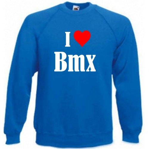 Sudadera de mercado de neumáticos I Love BMX para mujer, hombre y niños en los colores negro, blanco, azul con texto impreso azul 01Hombre 'Small'