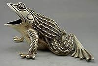収集可能な装飾された古い手仕事チベット銀刻まれたカエルの像