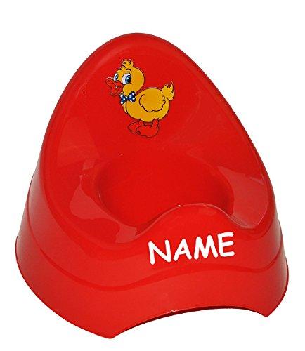 alles-meine.de GmbH Töpfchen / Nachttopf - groß - mit großer Lehne + Spritzschutz incl. Namen - rote Ente - Babytöpfchen / Kindertopf / Lerntöpfchen - Toilettentrainer Klositz WC..