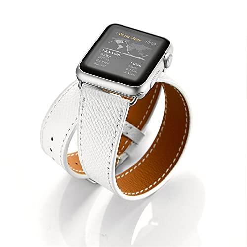 Correa Reloj para Apple Watch Series 1/2/3/4/5/6/SE, Compatibilidad Apple Correa de Reloj 42mm 38mm con Hebilla de Acero Inoxidable, Cuero Genuino Correa de Reloj Tour Doble,White,42mm/44mm