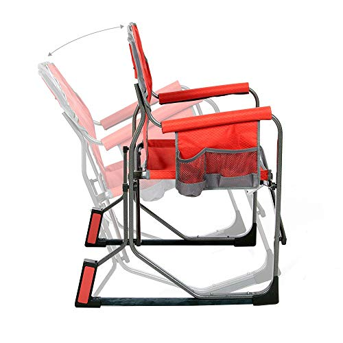 MacSports MacRocker Outdoor Foldable Rocking Chair | Portable, Collapsible, Springless Rockers with Rust-Free Anti-Tip Guards for Camping Fishing Backyard | Red (2 Pack)