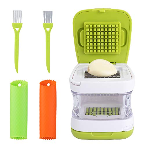LEAMEERY Garlic Press Set Garlic Clove Cube Press Tool  Includes 2 Silicone Garlic Peeler and 2 Cleaning Brush  Easily Slice or Cube Garlic Cloves Without Mess