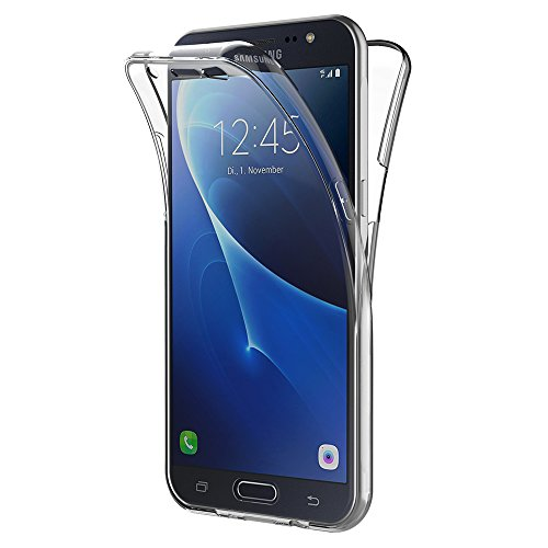 AICEK Samsung Galaxy J7 2016 Hülle, 360°Full Body Transparent Silikon Schutzhülle für Samsung J7 2016 Case Crystal Clear Durchsichtige TPU Bumper Galaxy J7 2016 Handyhülle