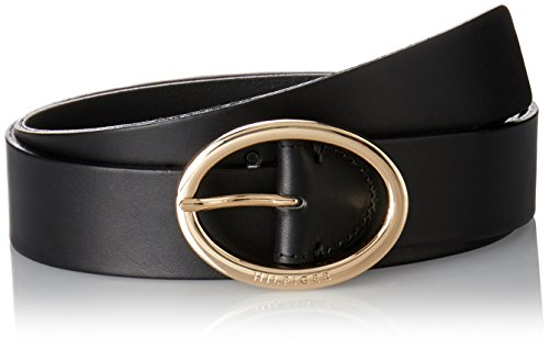 Tommy Hilfiger Damen OVAL Buckle Belt 3.5 Gürtel, Schwarz (Black 002), 100