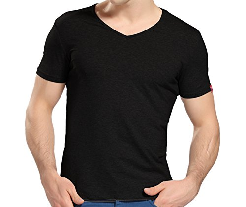 WSLCN T Shirt Uni Homme 100% Coton Décontracté Loisirs Sports V Col Shirt Basic Manches Courtes Slim Fit Noir FR 3XL (Asie 4XL)