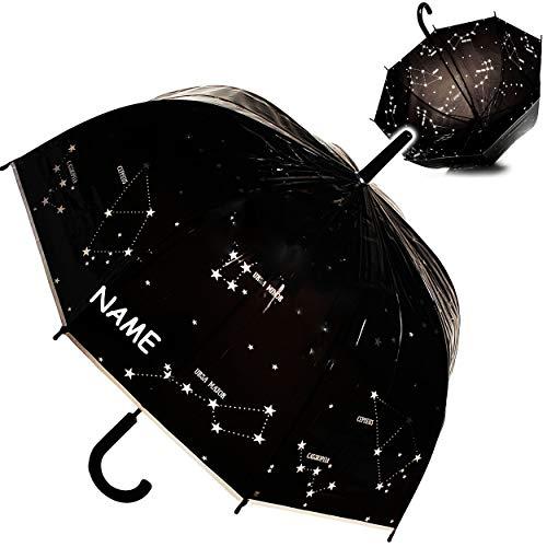 alles-meine.de GmbH großer XL - Regenschirm - Automatik - Sternbilder & Sterne - inkl. Name - durchsichtig & transparent - Ø 80 cm - Stockschirm mit Griff - durchscheinend - klar..