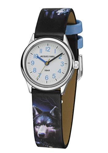 JACQUES FAREL Reloj de pulsera analógico para niño, diseño de lobo, color negro y azul, de cuarzo, HCC 808