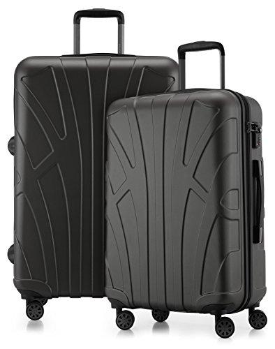 SUITLINE - Juego de 2 Trolley rigidos, Maletas de Viaje Extensibles 66 + 76 cm (Media y Grande) con 4 Ruedas, ABS, TSA, Grafito