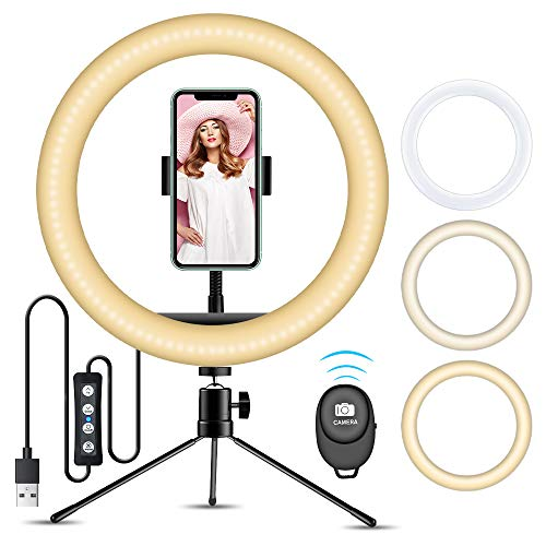 """Ring Light with Stand, VINSIC 10"""" Selfie Ring Light Tripod For iPhone, Phone Tripod Stand With 3 LED Light Modes For Live Stream/Makeup/Vlogging/YouTube Video/Photography For iPhone Android Cellphones"""